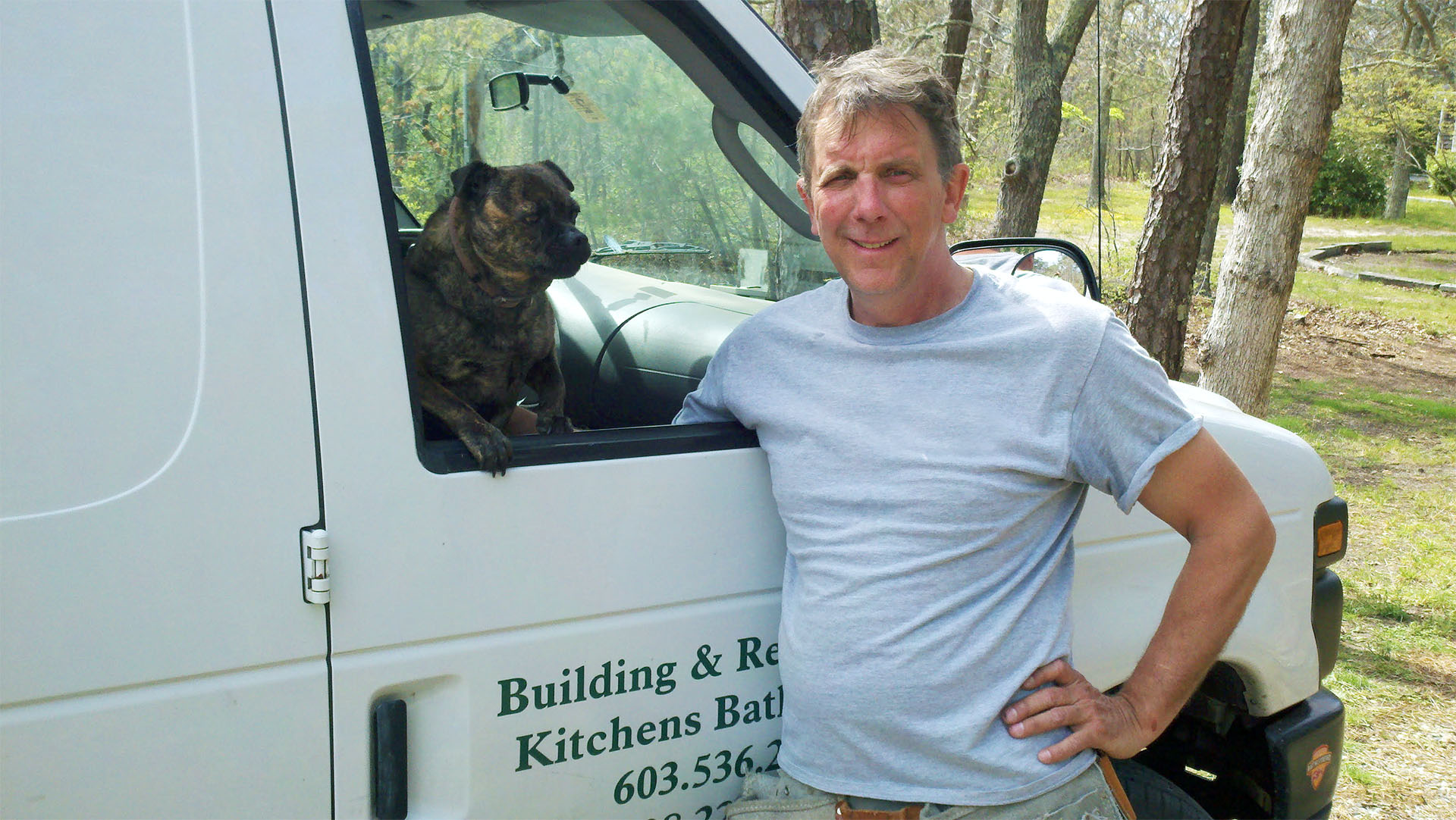 Carpentry By Allen -Owner with his dog Smokey